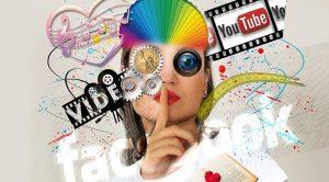 Postmoderne Collage zu Social Media und Online Recht