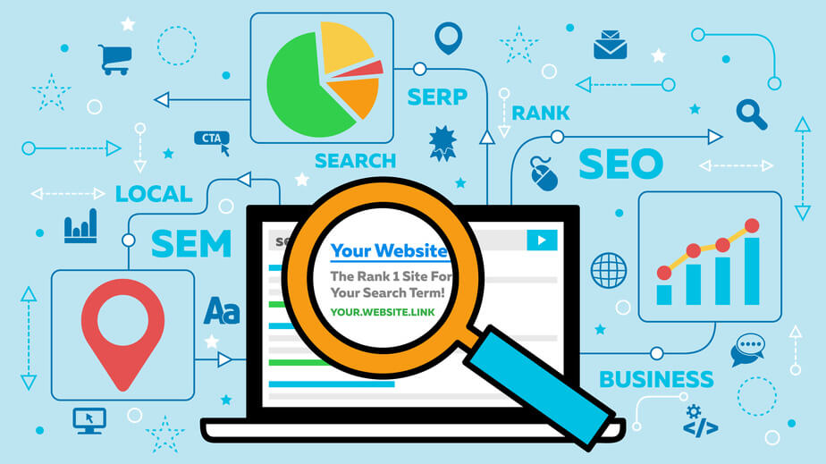 Digitale Collage zum Thema SEO Suchmaschinenoptimierung