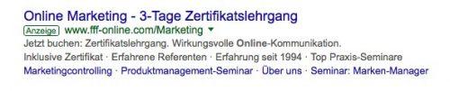 Screenshot eines SERP-Inhaltes zum Suchmaschinen-Advertising (SEA)