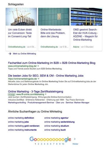 Screenshot einer SERP (Search Engine Result Page) in Google zum Suchbegriff Online Marketing