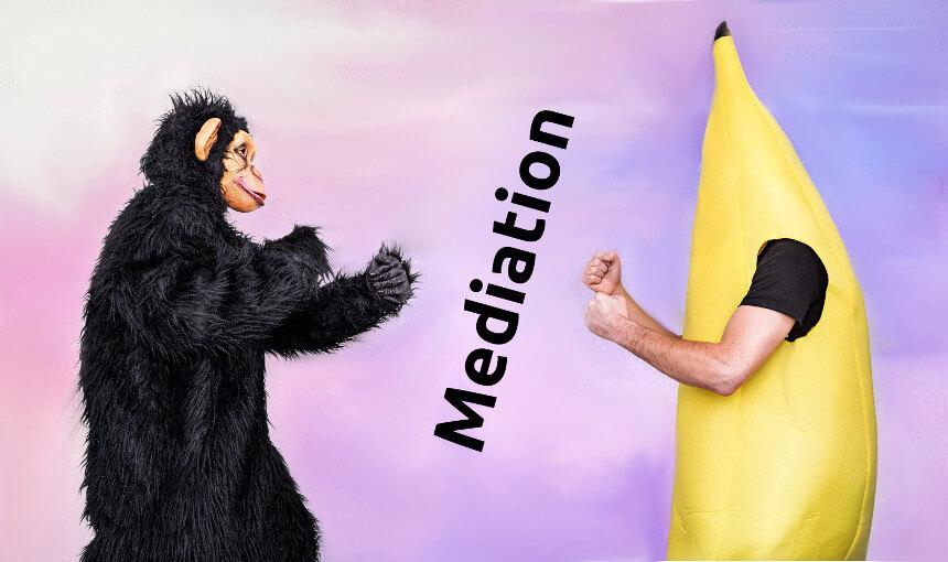 Humorvolle Darsellung eines Konfliktes zwischen einem Affen und einer Banane zwischen denen der Begriff Mediation vermittelt