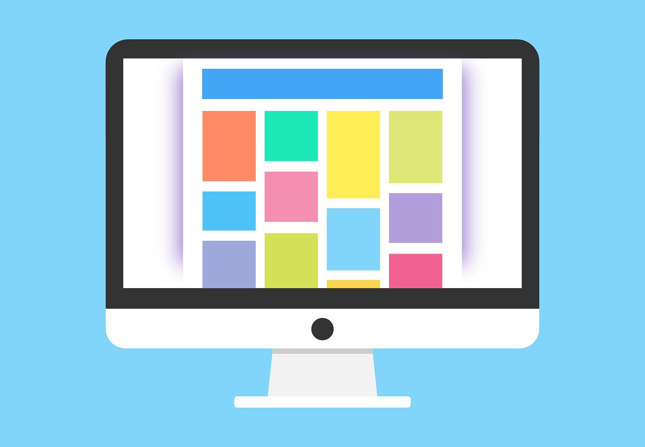 Bunte Vektorgrafik eines Monitors mit unterschiedlichem Content