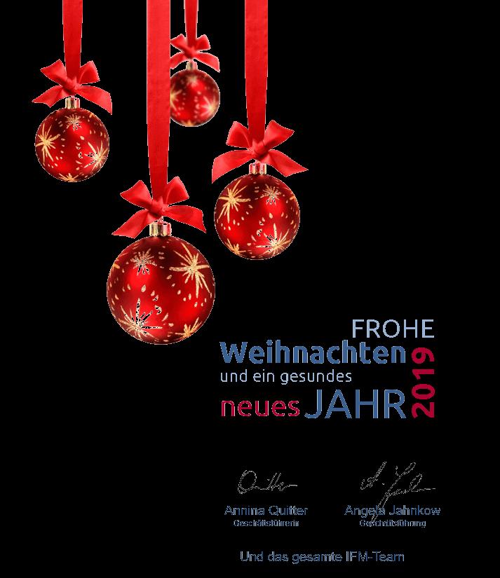 Weihnachtsdeko mit Grüßen vom IFM