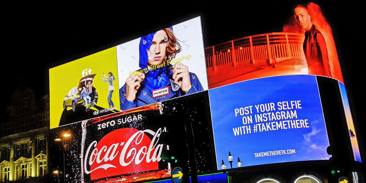 Beispiel für Produktmarketing am Londoner Piccadilly Circus