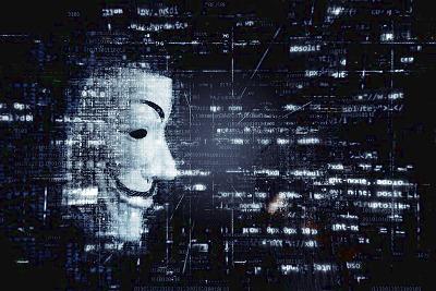 Digitales Bild mit Hackermaske