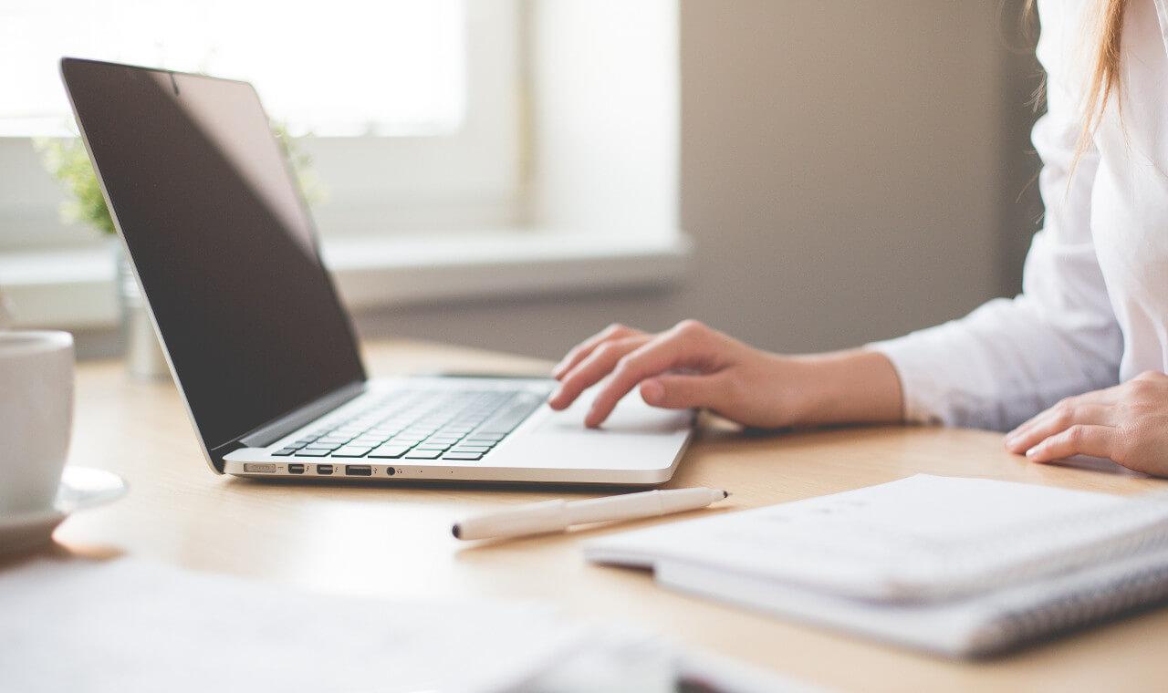 Frau am Laptop zeigt ein Beispiel der Arbeit mit dem Managementsimulator