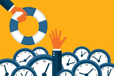 Eine Hand versinkt im Zeitdruck aus Stress in einem Meer aus Uhren und greift nach einem Rettungsring