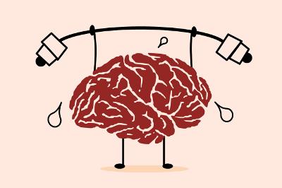 Lustige Grafik eines Gehirns, das ins Schwitzen kommt, weil es Gewichte hebt