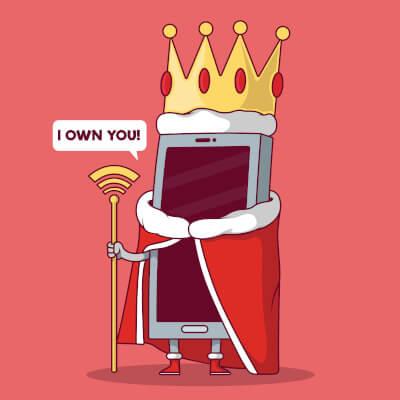 Comic eines Smartphones verkleidet als König
