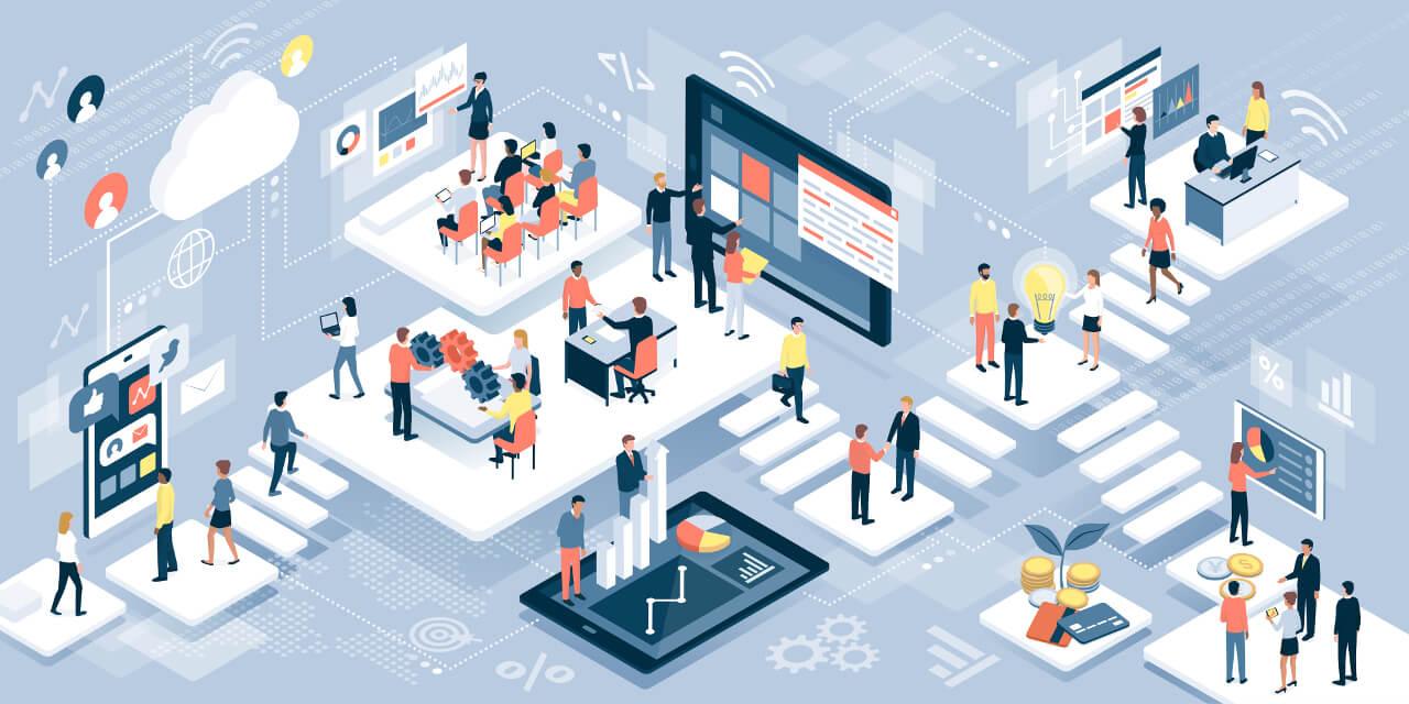 Grafik zur Zukunft der Digitalisierung im Umfeld eines digitalen Unternehmens