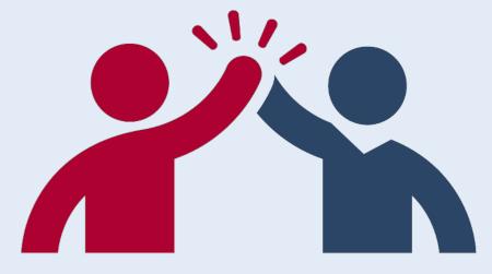 Grafik mit zwei Menschen, die sich ein High five geben