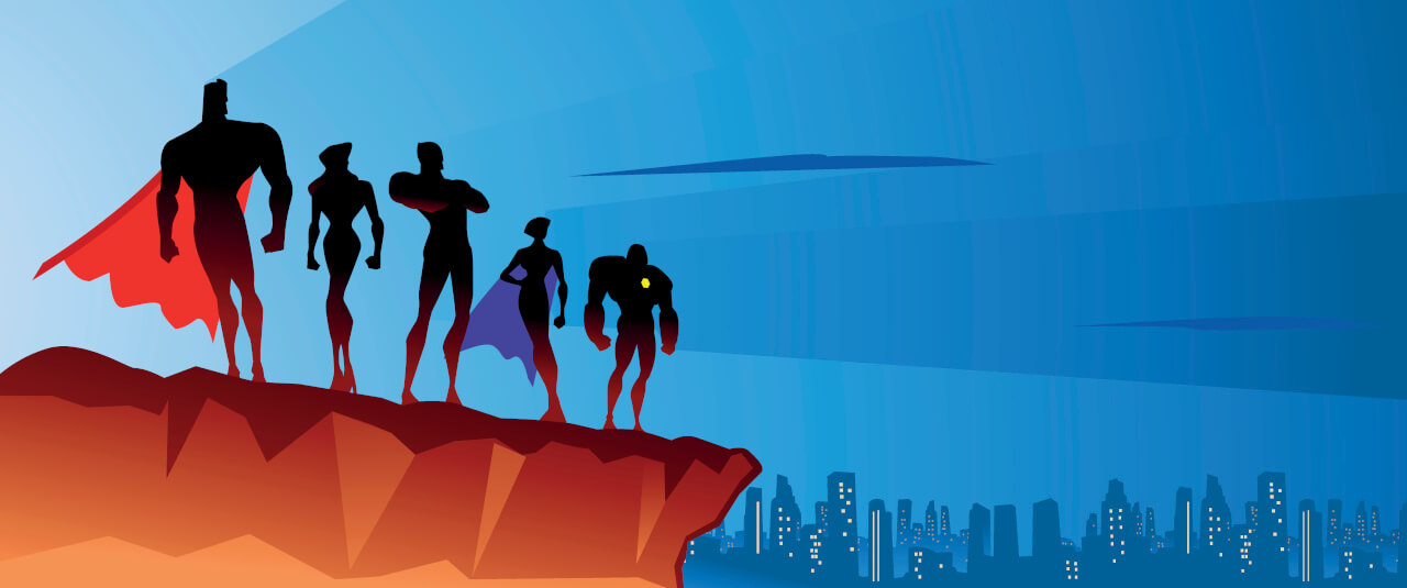 Im Comic-Stil: Team von Superhelden stehen zusammen, um die nächste Aufgabe zu lösen