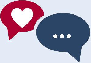Sprechblasen mit Kommunikation und Herz