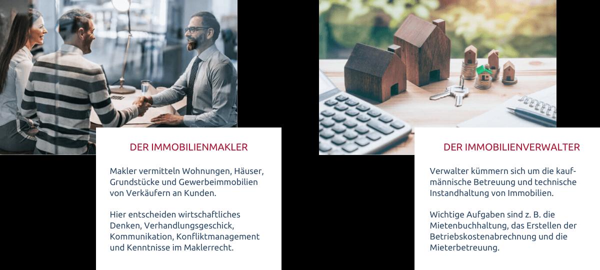Immobilienmakler und Immobilienverwalter in wenigen Worten zusammengfasst und verglichen