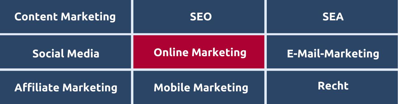 Überblick über die wichtigsten Bereiche im Online Marketing, wie Content Marketing, SEO, E-Mail-Marketing und mehr