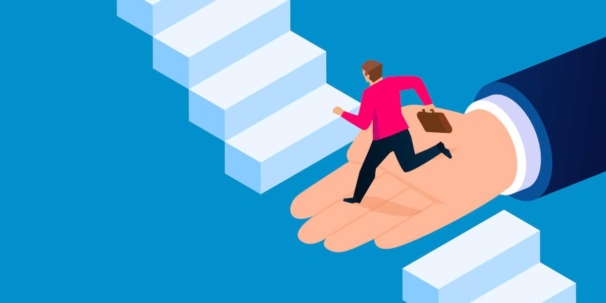 Hand hilft Mitarbeiter, eine Hürde auf einer Treppe zu überbrücken