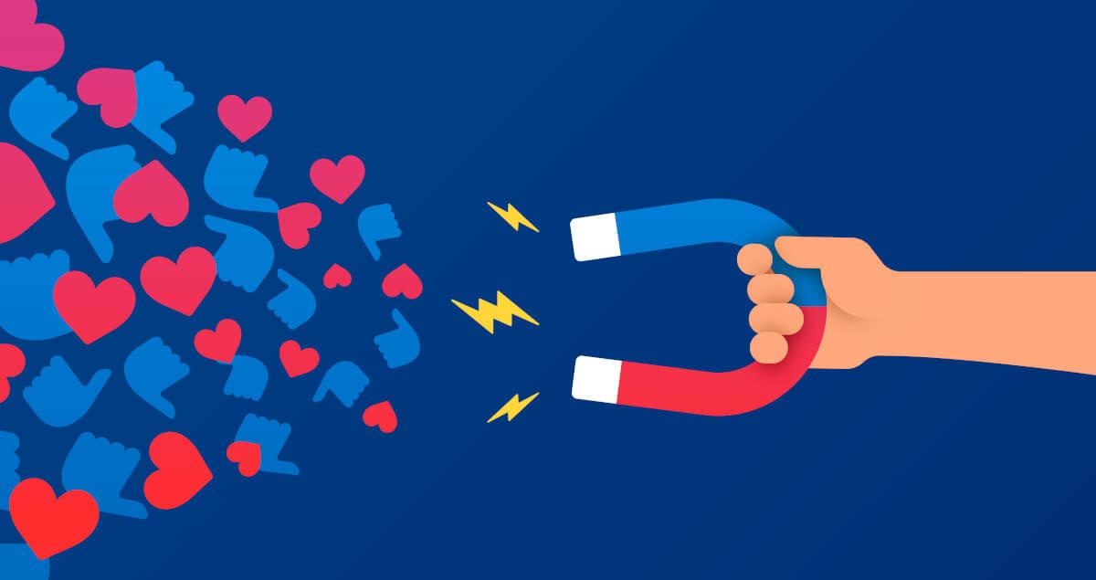 Content Creator Hand hält Magneten und zieht Herzen und Likes an