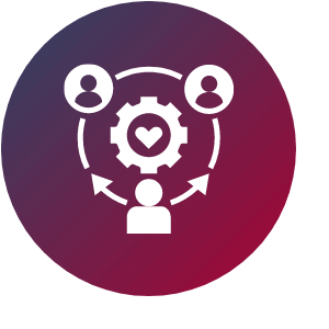 Grafik zeigt Feel Good Manager im Austausch mit anderen Mitarbeitern. In der Mitte ist ein Zahnrad mit einem Herz zu sehen