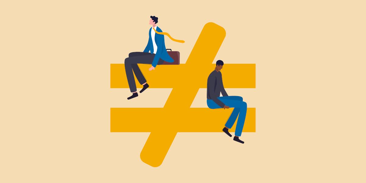Durchgestrichenes Gleichheitszeichen mit Mitarbeitern